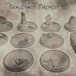 01.jpg Download free STL file 32mm Undead and Cemetery Bases  - Graveyard Themed Set for Dungeons and Dragons, Warhammer of Tabletop fantasy games. • 3D printable design, KaerRune