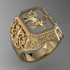 1.jpg Download 3DS file signet ring with heraldic lion    • 3D printing template, sergotall1977