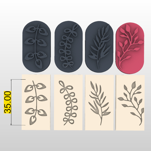 Screenshot_2.png Download STL file STAMP FOR POLYMER CLAY PRINTED IN 3D- silhouettes of plants and leaves 🌿🌾-LORREN3D • 3D printing design, lorren3d
