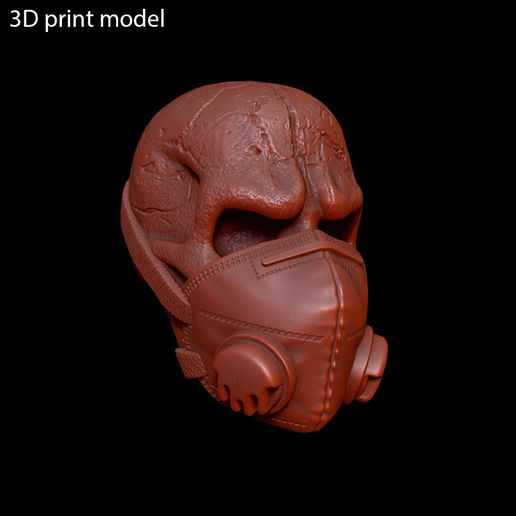 Skull_with_mask_vol2_z9.jpg Download STL file Skull with mask vol2 Pendant jewelry • 3D printer design, AS_3d_art