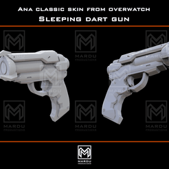 renderTemplate.png Download STL file Ana's sleeping dart gun (Overwatch) • Template to 3D print, MarduProductions