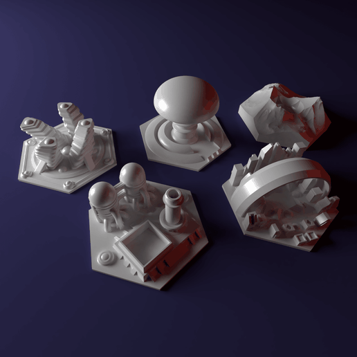 Pic1.png Download STL file Custom special tile set for Terraforming Mars - special tiles nr 7-11 • 3D printing object, Rayjunx