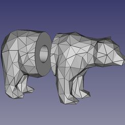 Curtain_rod_end_low_poly_bear.jpg Download free STL file Curtain rod end Low Poly Bear • 3D printer design, TomToy3D