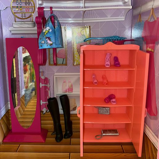 IMG_7153.jpeg Download free STL file Barbie Armoire - Shoe cabinet with print-in-place doors • 3D printer object, bob-4d