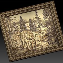 51.jpg Download free STL file 3 wolves in the forrest cnc frame router • 3D print model, CNC_file_and_3D_Printing