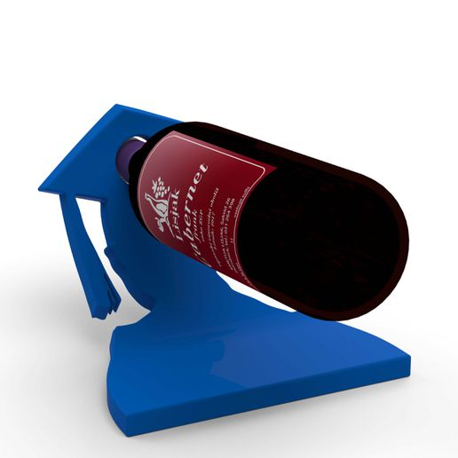 Podlaga Cu 9.jpg Download free STL file DIPLOMA, GRADUATION, BACHELOR, MATURA, GIFT - BOTTLE HOLDER / WINE STAND • 3D printing object, HomarDesign
