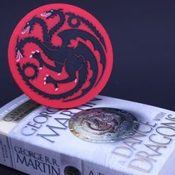 fe1460c573b46ec0c55e5ec04c6b3150_display_large.JPG Download free STL file Multi-Color Game of Thrones Coaster - House Targaryen • 3D printer object, MosaicManufacturing