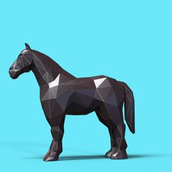horse_3d_print.jpg Download STL file Horse low poly • 3D print object, 3dpark