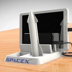 Untitled-747.png Download STL file Space-X ANDROID or Apple - CELL PHONE AND TABLET HOLDER • 3D printer model, Trikonics