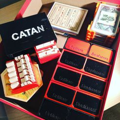 Catan Organizer Cover Photo.jpg Download STL file Catan Settlers + Seafarers game piece holder/storage dual funtion organizer • 3D printer object, DLittleThingy