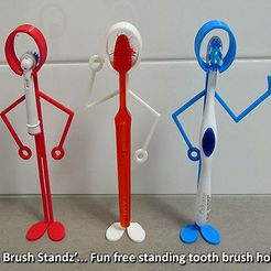 tooth_brush_standz_display_large.jpg Download free STL file 'Tooth Brush Standz' ... Fun free standing tooth brush holders! • 3D printing object, Muzz64