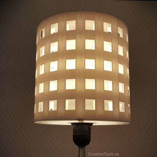 6ca496f0c15712c73055107b1c63a8eb_preview_featured.jpg Download free STL file 3D-printable lampshade for standard light fixture (concentric perforated shading walls) • 3D printer design, CreativeTools