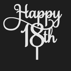 Capture.png Download STL file Happy 18th Birthday Topper • Object to 3D print, Invictus