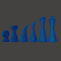 V1_All_Square.png Download STL file Voronoi Modern Chess Set - Supportless • Object to 3D print, crossthread