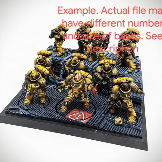 IMG_20200701_221929_2.jpg Download STL file 40K INDUSTRIAL BASES - TABLEWAR MAGNETIC TRAY INSERT WITH BASES (7 X 40MM RIGHT TRAY) • 3D printable object, Z-Axis_Hobbies