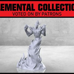 Greater_Fire_Elemental_1-01.jpg Download free STL file Greater Fire Elemental - Tabletop Miniature • 3D printing object, M3DM