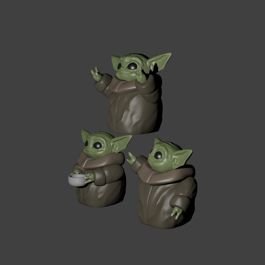 3tres yodas.png Download STL file baby yoda for 3 • 3D printing object, Aslan3d