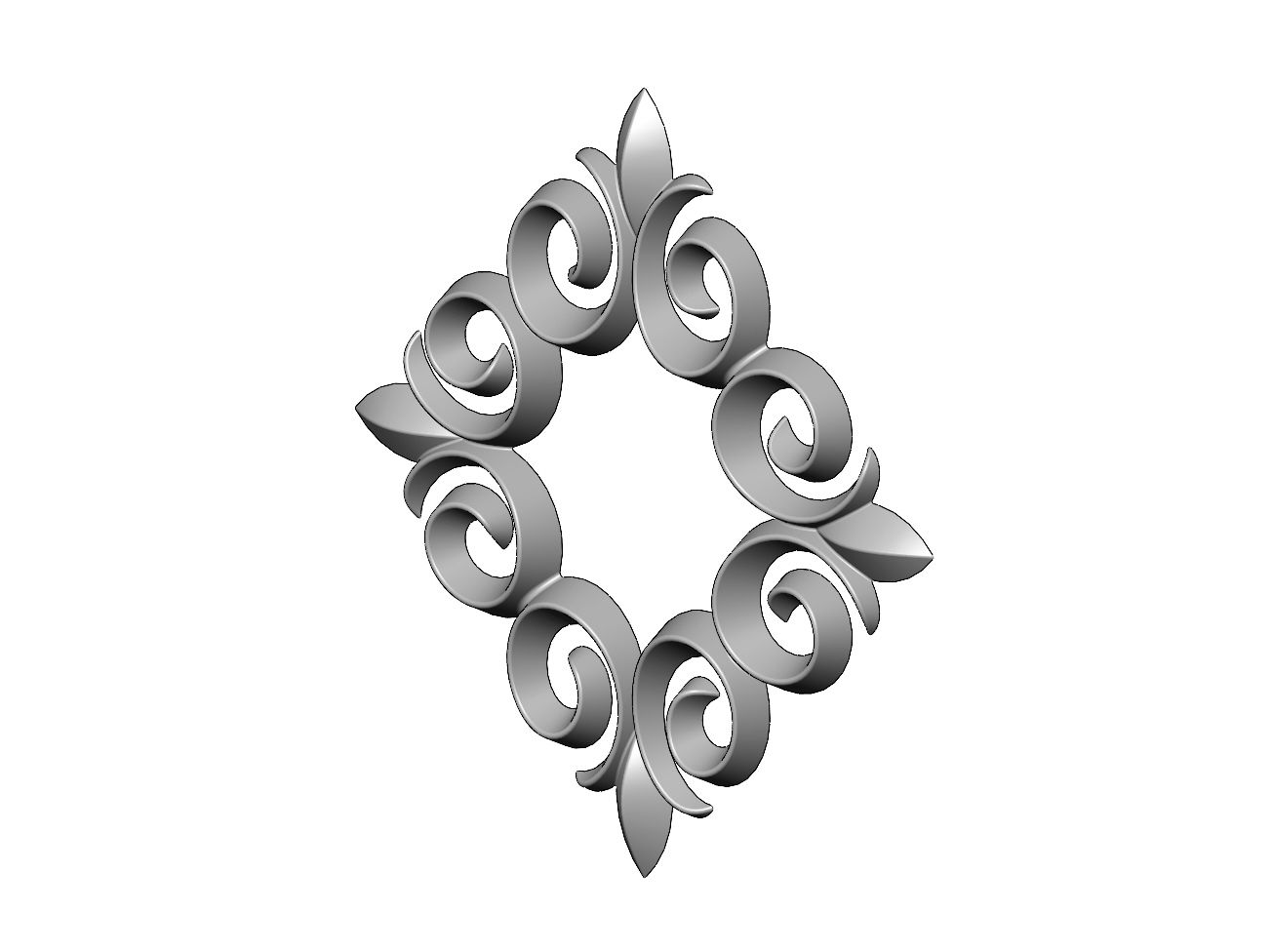 onlay19-01.JPG Download 3MF file Square floral decoration element relief 3D print model • Model to 3D print, RachidSW