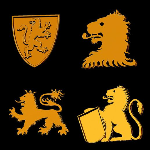 LP41.jpg Download STL file Heraldry Pack Lions for jewelry • 3D printing template, plasmeo3d