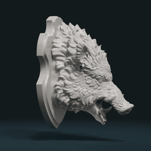 W_Boar_H_С-0002.png Download STL file Wild Boar Mounted Head • 3D printer design, Skazok