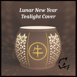 Lunar New Year Cover Ox-hanzi original_.jpg Download free STL file Lunar New Year Tealight Cover - FREE • 3D printing object, c47