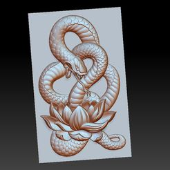 snakeLotus1.jpg Download free OBJ file snake pendant model of bas-relief • Object to 3D print, stlfilesfree