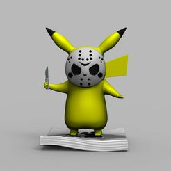 0_36.jpg Download STL file Pokemon Pikachu Jason Vorhees Friday 13 3D Printing Model • Object to 3D print, seandarkhouse