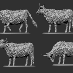 Highland Cow Thumbnail 1.png Download free STL file Highland Cattle for Tabletop Wargaming • 3D printer model, Swagius_Maximus
