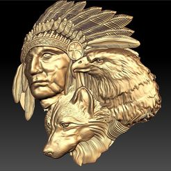189.jpg Download free STL file eagle indian wolf and native american johnny halliday tribute tatoo • 3D printer template, CNC_file_and_3D_Printing
