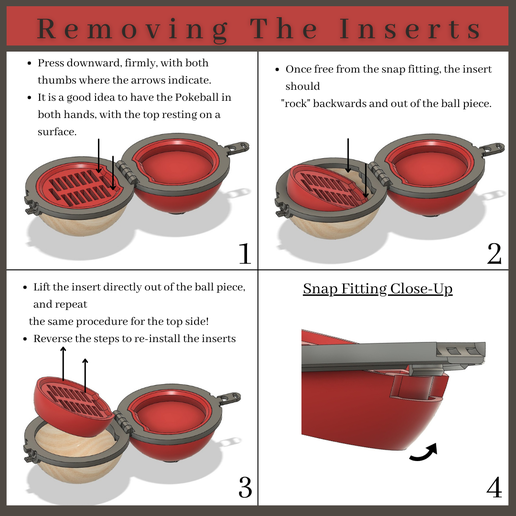 Pokeball-Removing-The-Inserts-(1).png Download STL file Ancient Pokeball from Pokemon Legends: Arceus (100% Snap-Together, 2 Different Inserts Available, Nintendo Switch Game Holder and Jewelry Holder) • Template to 3D print, ThinAirCraftworks