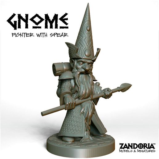 Gnome_Fighter_Spear.jpg Download STL file Gnome with Spear • 3D printing object, Zandoria