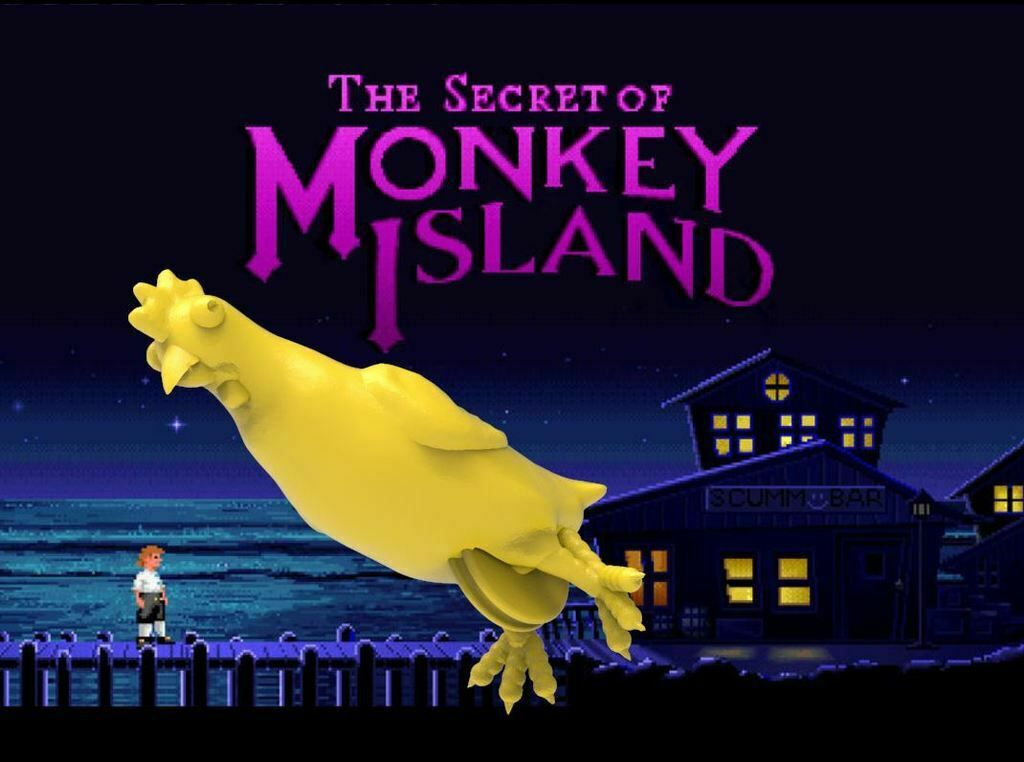 MonkeyChicken.JPG Download free STL file A Rubber Chicken With A Pulley In It - The Secret of Monkey Island • 3D printable design, BigMrTong
