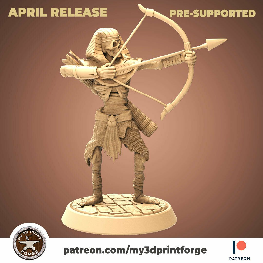 Pharaoh-archer1.jpg Download STL file Skeleton Pharaoh Archer 32mm and 75mm pre-supported • Model to 3D print, My3DprintFORGE
