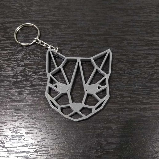 Llavero Gato Ojos 4.jpg Download STL file Key ring Geometrical Cat 2 • Object to 3D print, samilena9215