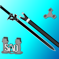Elucidator-1.png Download STL file Elucidator SAO Sword | Kirito | Sword Art Online | Matching Scabbard, Display Plinth Available | By Collins Creations 3D • 3D printable design, CollinsCreations3D