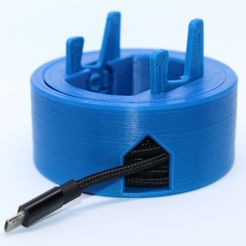 IMG_3893squared.jpg Download STL file Cable Reel with Cell Phone Stand Integrated (Print in Place, no supports are required) • 3D print template, joaolsneto