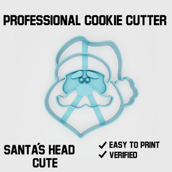 Santa's face cookie cutter2.png Download STL file Santa's face cookie cutter • 3D printing object, Cookiecutters