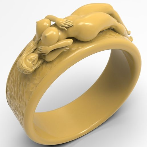 1.1.jpg Download free STL file Beautiful girl sexy girl ring jewelry man ring • 3D print model, Cadagency