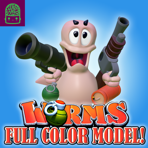 woms_final.png Download STL file Worms Classic Video Game Statue - Full Color! • 3D printing object, ThatJoshGuy