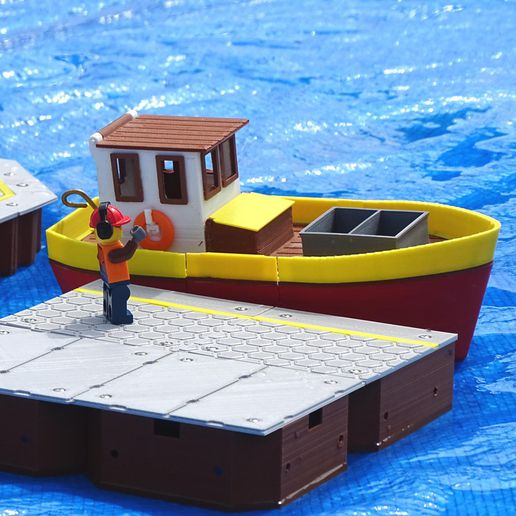 Preview4.jpg Download free STL file Small fishing boat - floating toy for kids • 3D printable model, Printed-Toys