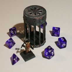 01.JPG Download STL file D&D Dice Prison III or Jail with Lid for Dungeons & Dragons, Pathfinder or other Tabletop Games • 3D printing object, KaerRune