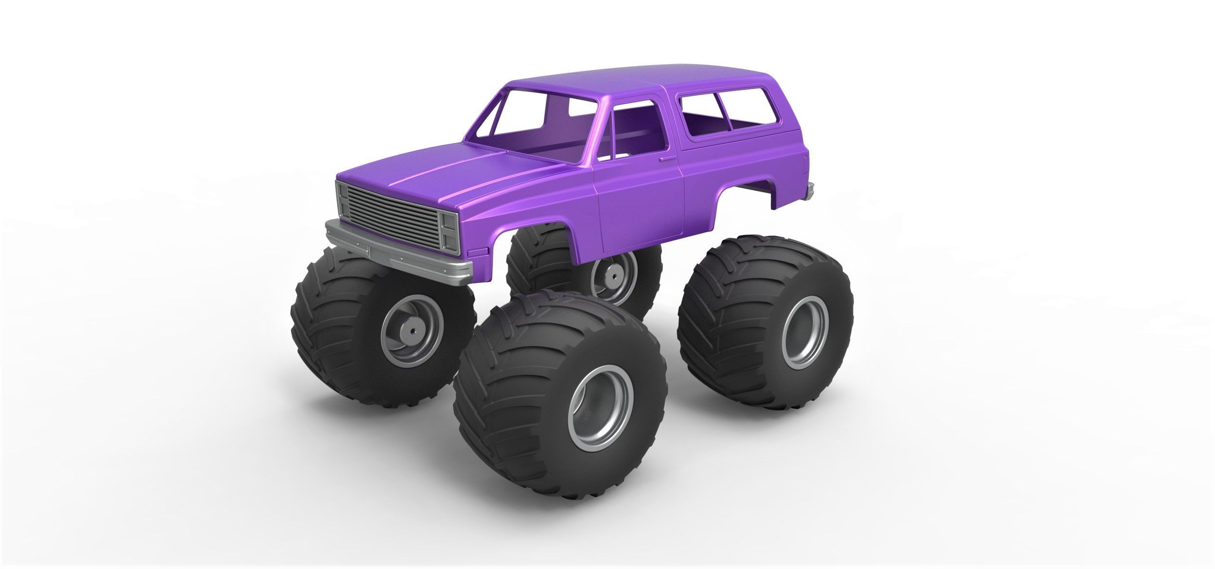 1.jpg Download STL file Diecast shell and wheels 1988 Chevrolet Blazer K5 monster truck Scale 1 to 25 • 3D printing design, CosplayItemsRock