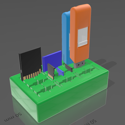 Immagine_2020-12-19_193528.png Download free SCAD file Parametric USB SD microSD card organizer holder • 3D printer template, mbrami