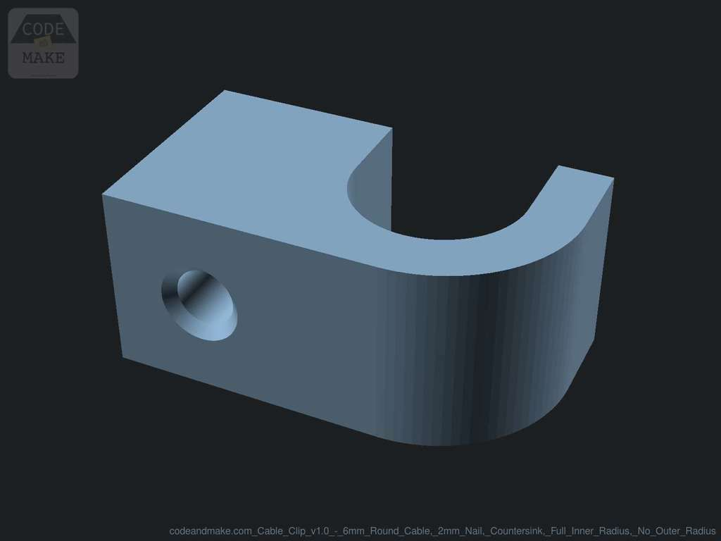 codeandmake.com_Cable_Clip_v1.0_-_6mm_Round_Cable_2mm_Nail_Countersink_Full_Inner_Radius_No_Outer_Radius_logo_cjpeg_dssim-srcw.jpg Download free SCAD file Fully Customizable Cable Clip with Nail Hole • 3D printing object, Code_and_Make