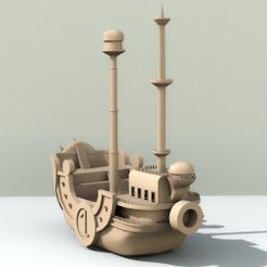 model1.jpg Download OBJ file Boat Thousand sunny One piece • 3D printing object, edgehug