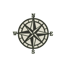 Compass-v1.png Download STL file Compass 2D wall hanging • Model to 3D print, jwmustanggt