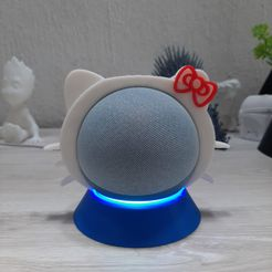 WhatsApp-Image-2021-07-05-at-1.02.48-PM.jpeg Download free STL file Hello Kitty stand for echo dot 4 gen • 3D printable object, kevfh
