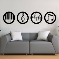 Mockup-Recovered.jpg Download STL file Music Wall Art • 3D printing template, khmusicman
