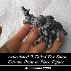 fx1.png Download STL file Articulated 9 Tailed Fox Spirit Kitsune Print in Place • 3D printer design, ammonite5665