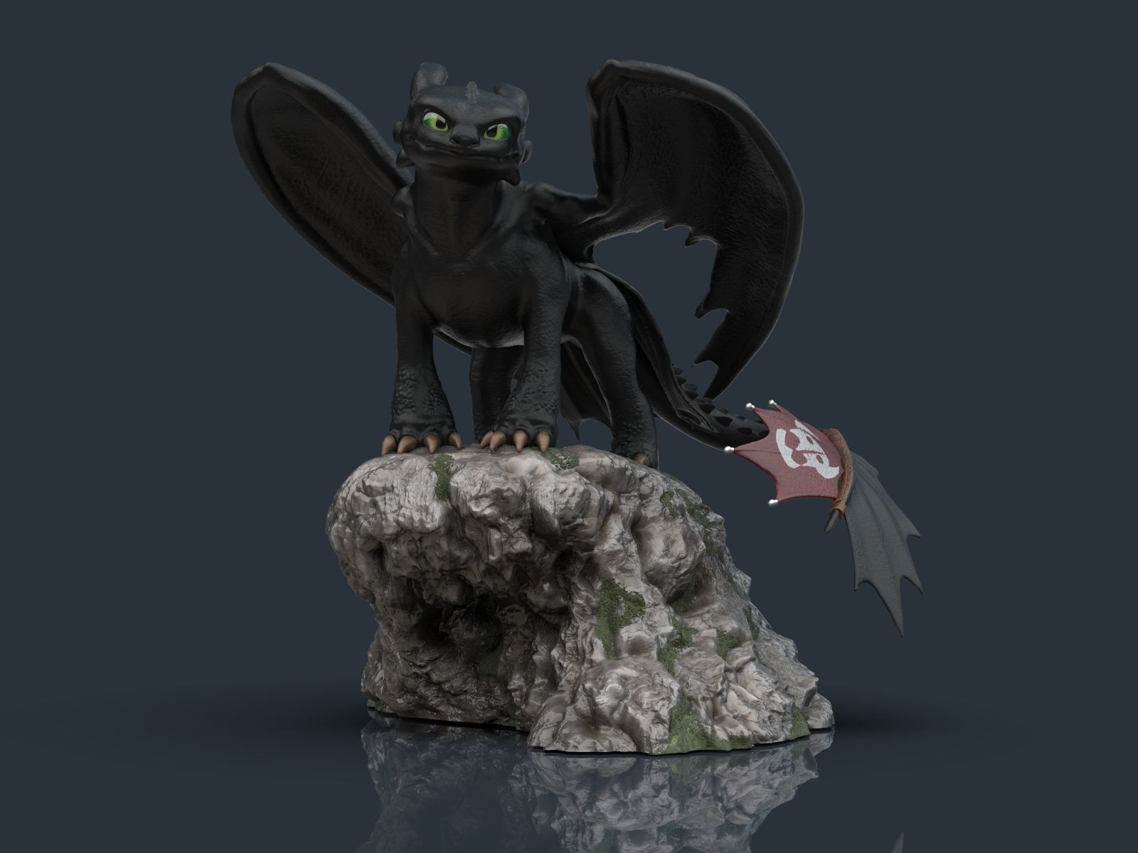 vista 01.jpg Download STL file Toothless - How to train your dragon for 3d print model • 3D printable model, Ignacioabusto